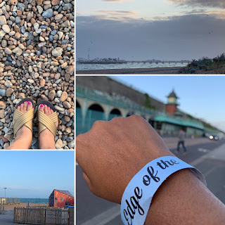 multiple images - of beach, wristband and sky in Brighton