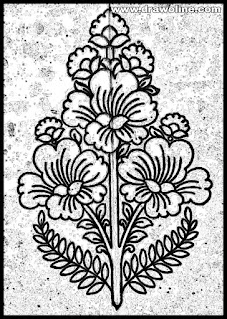 How to draw flower design on tracing paper for hand embroidery designs, flowers design drawing for Embroidery