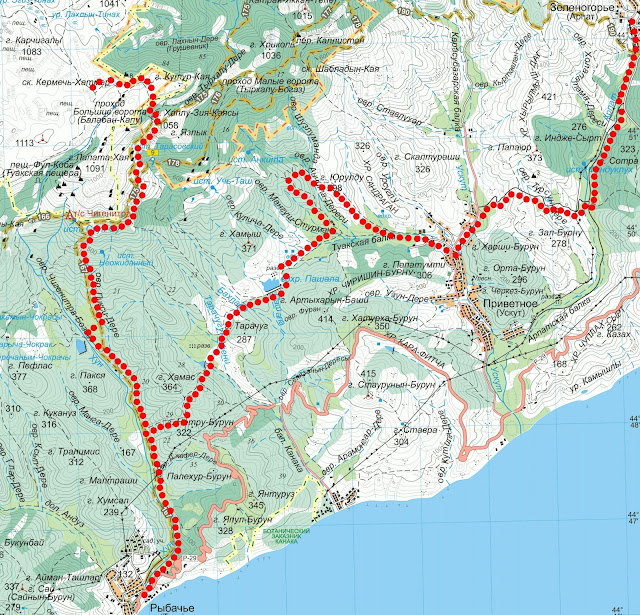 Карта маршрута Зеленогорье – Караби-яйла – Рыбачье