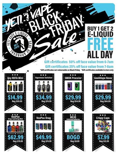 Vapor Joes Daily Vaping Deals Black Friday Starts Now Yeti Vape Buy 1 Get 2 Free Juice