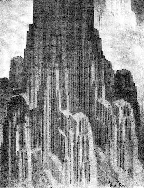 an urban concept by Hugh Ferriss, a giant building
