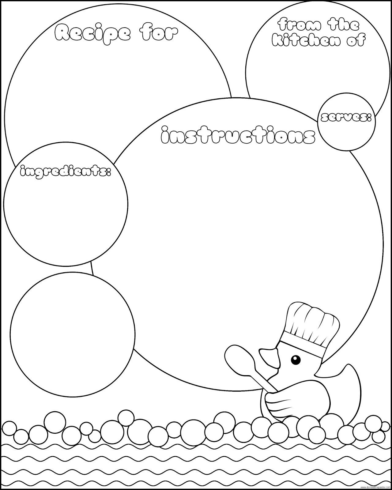 Printable rubber duck recipe page- there is a colored version available as well. #recipes #cooking