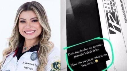 Médica posta que intubou dois pacientes no plantão: 'kakakakka mais um eu peço música'