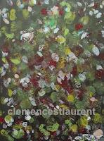 Vert-de-gris, acrylique sur papier 11 x 8.5, thème abstrait par Clémence St-Laurent