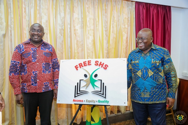 President Akufo-Addo with Vice President Dr. Bawumia after unveiling the Free SHS Logo [Audio]