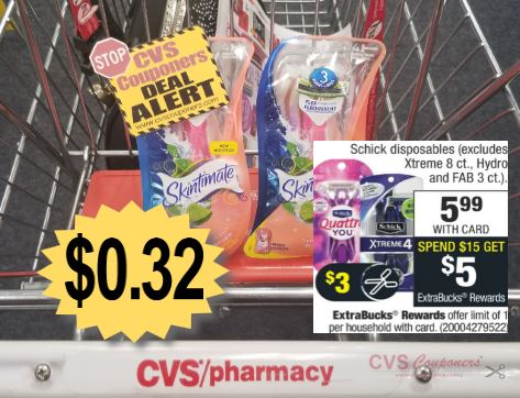 CVS Deal Skintimate Disposable Razors $0.32 10-13-10-19