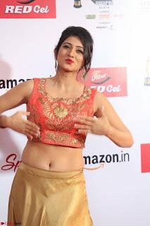 Harshika Ponnacha in orange blouuse brown skirt at Mirchi Music Awards South 2017 ~  Exclusive Celebrities Galleries 050.JPG