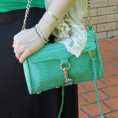 AwayFromBlue | green tank Rebecca Minkoff mini MAC with python embossed leather in aquamarine