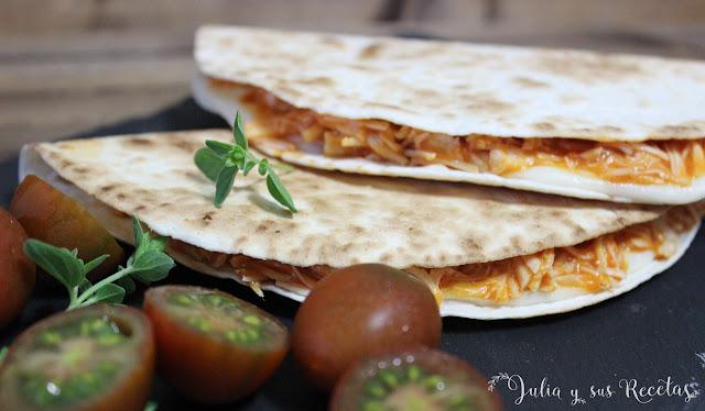 Quesadillas de pollo y mozzarella. Julia y sus recetas