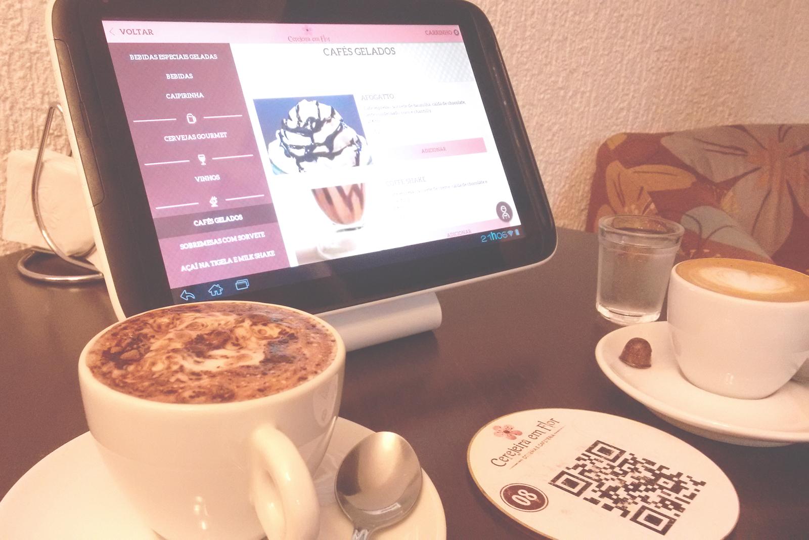 cafés menu tablet menu eletrônico Cafeteria & Doceria Cerejeira em Flor campinas