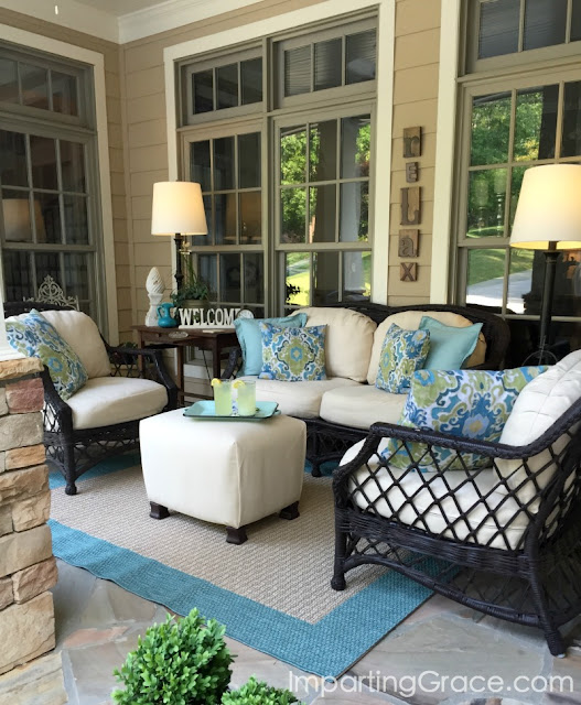 Porch furniture covered in Sunbrella fabric