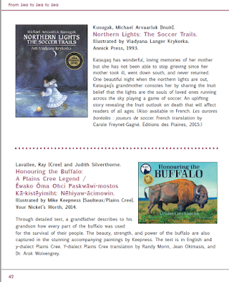 """Page 42 of the """"From sea to sea to sea"""" catalogue, featuring covers  of """"Northern Lights The Soccer Trails"""" and """"Honoring the Buffalo: A Plains Cree Legend"""", with book descriptions."""
