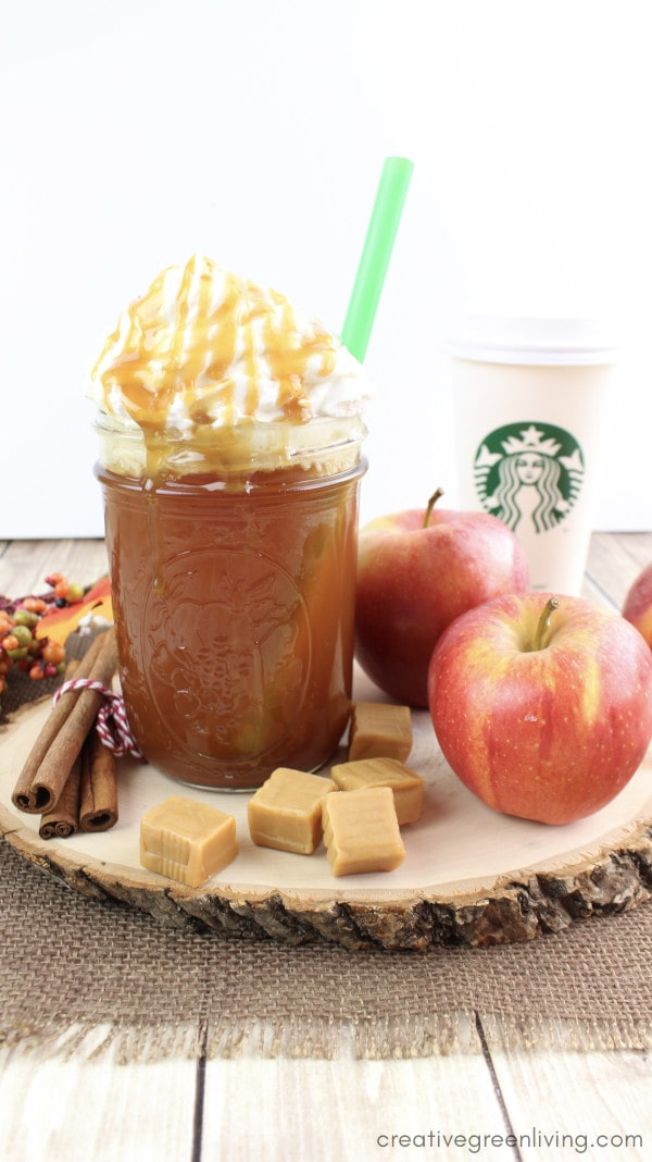 Starbucks caramel apple spice knock off recipe - a hot apple cider recipe inspired by Starbucks including cinnamon flavoring, whipped cream and caramel sauce