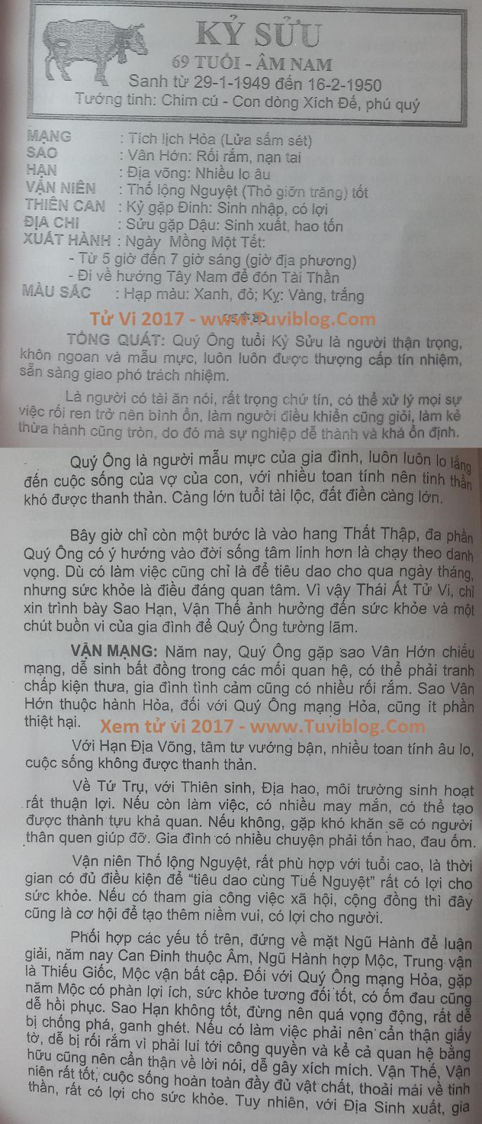 Tu vi 2017 Ky Suu 1949