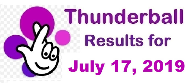 Thunderball results for Wednesday, July 17, 2019