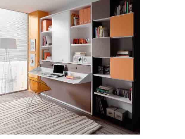 Dormitorio con cama compacto con cajones bajo chiffonier - Habitaciones en espacios reducidos ...