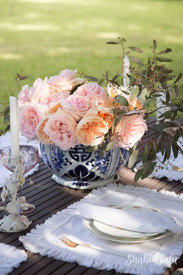 david austin roses centerpiece