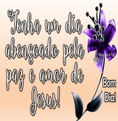 Tenha um dia  abençoado pela  paz e amor de  Jesus!  Bom Dia!