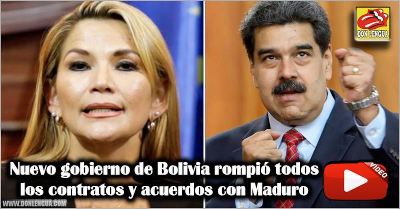 Nuevo gobierno de Bolivia rompió todos los contratos y acuerdos con Maduro