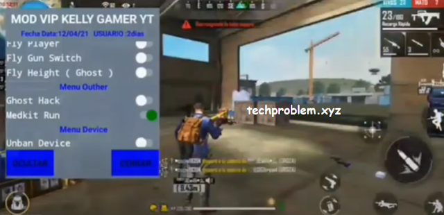 Free Fire Mod Menu VIP Kelly Gamer YT Headshot Telekill Unbanned Device