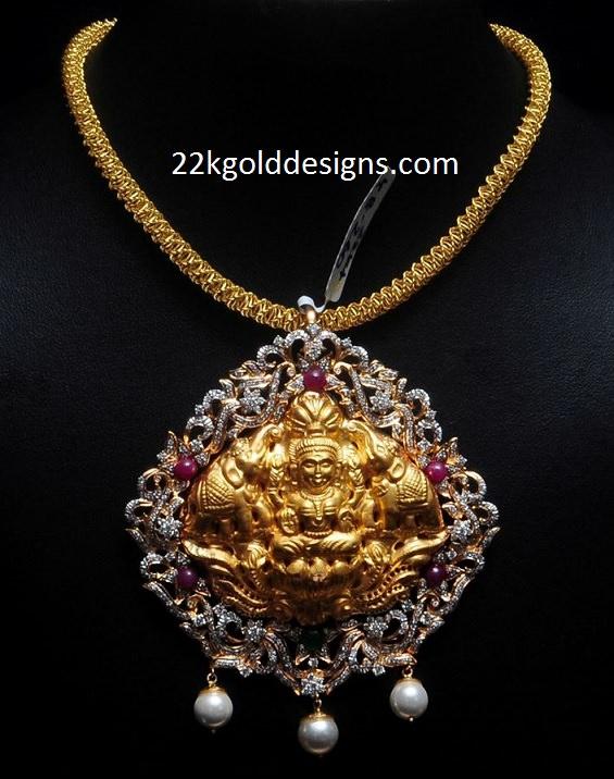 2.5 Lakhs Diamond Lakshmi Pendant