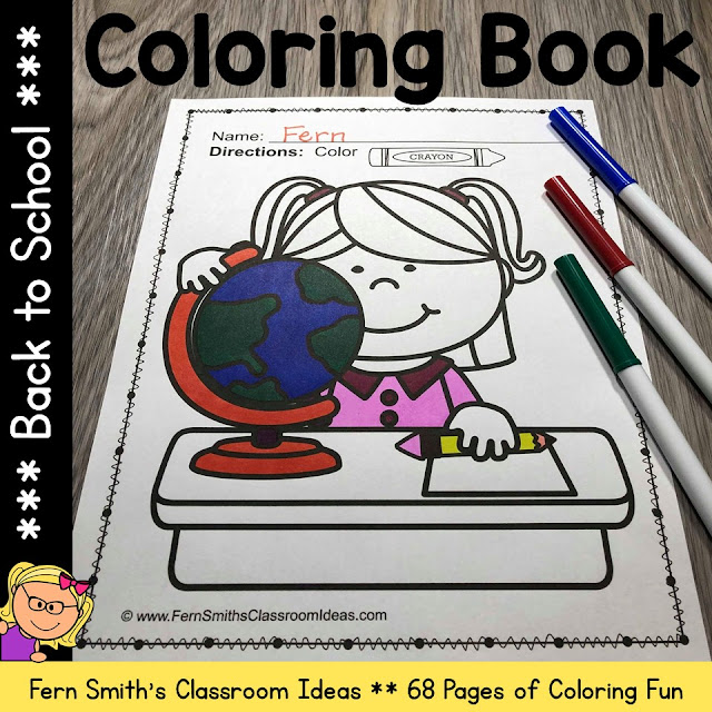 You will LOVE these 68 Back to School Coloring Pages that come in this Back to School coloring pages resource! Terrific for a First Day Activity on The Students' Desk When They Arrive In Your Classroom! You can just print and pass them out OR have a parent volunteer bind them into a BACK TO SCHOOL COLORING BOOK for you to have on the students's desk during the busy, crazy first week of back to school time!