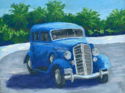 blue antique car buick automotive art