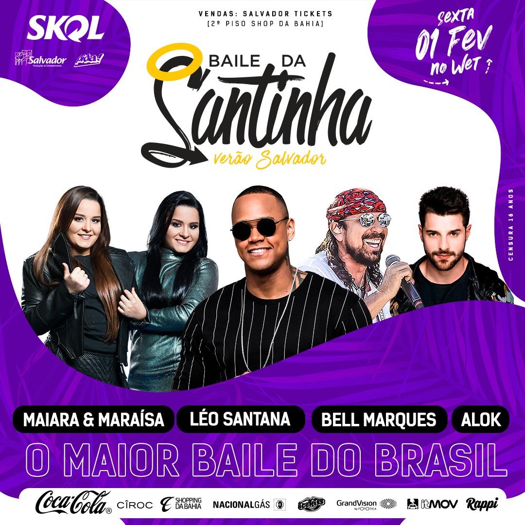 O Baile da Santinha Verão Salvador, ensaio do cantor Léo Santana, que  acontece no Wet n Wild toda sexta-feira chega a sua última edição com uma  grade de ... 1d7f72b5f6