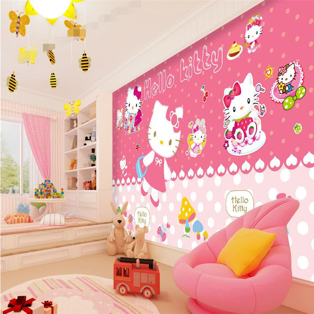Childrens wall murals kids room Photo Wallpaper 3D Pink Hello Kitty Decoration Baby Girl Room Wall Mural