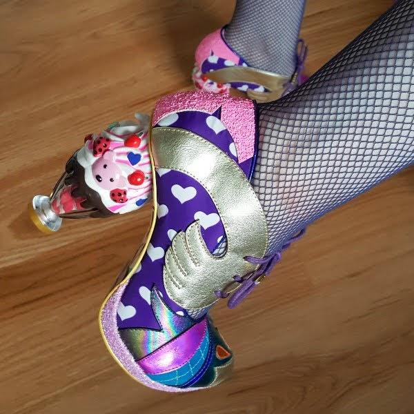 wearing ice cream sundae heeled shoes with heart print