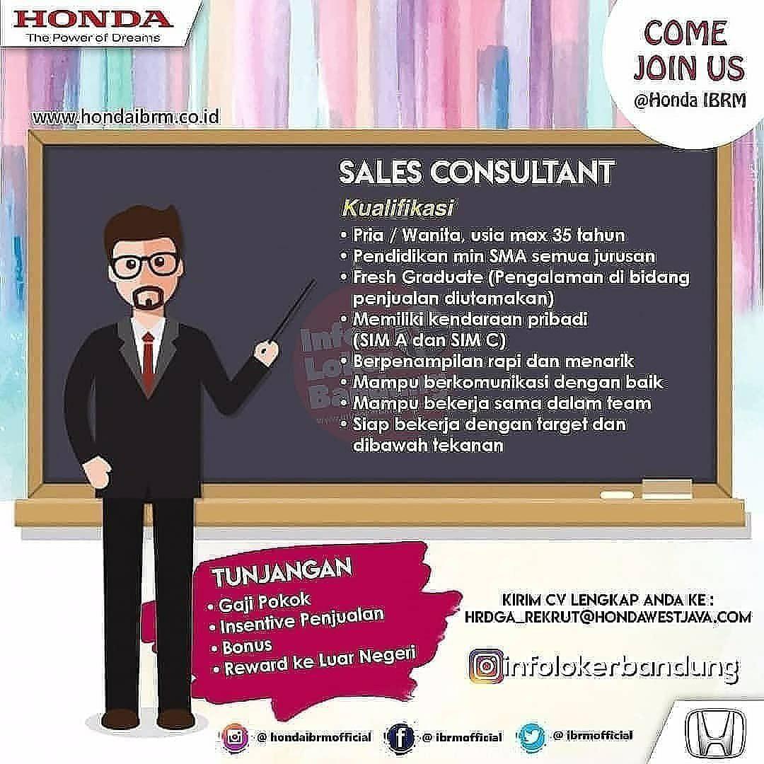 Lowongan Kerja Sales Consultant Honda IBRM Bandung September 2019