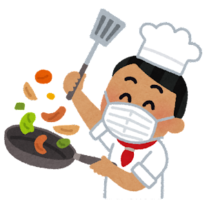 マスクを付けて料理をするシェフのイラスト(東南アジア人男性)