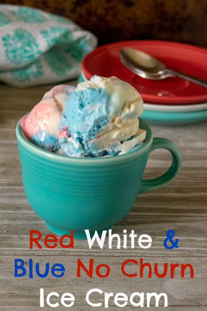 blue mug filled with red, white and blue ice cream scoops