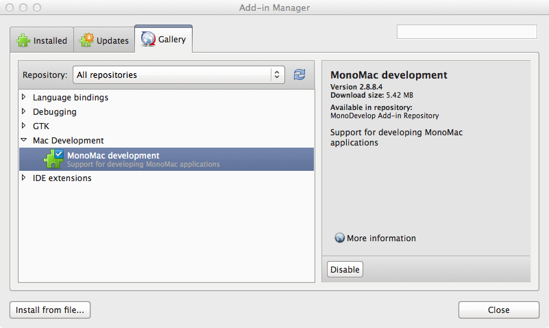 Stuff++: Where is the add-in manager in Mono Develop OR, How to