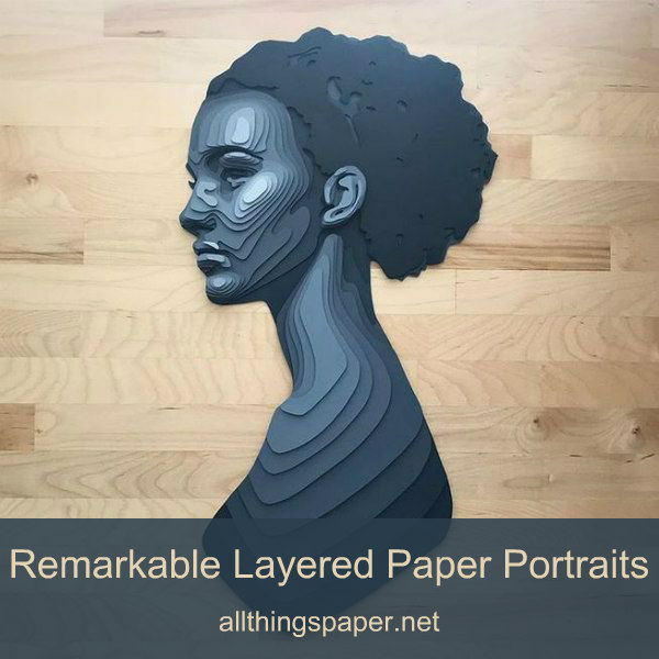 layered cut paper woman in shades of gray, bust with profile view