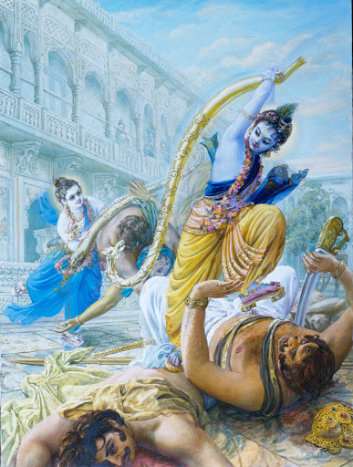 Krishna breaking Kamsas bow