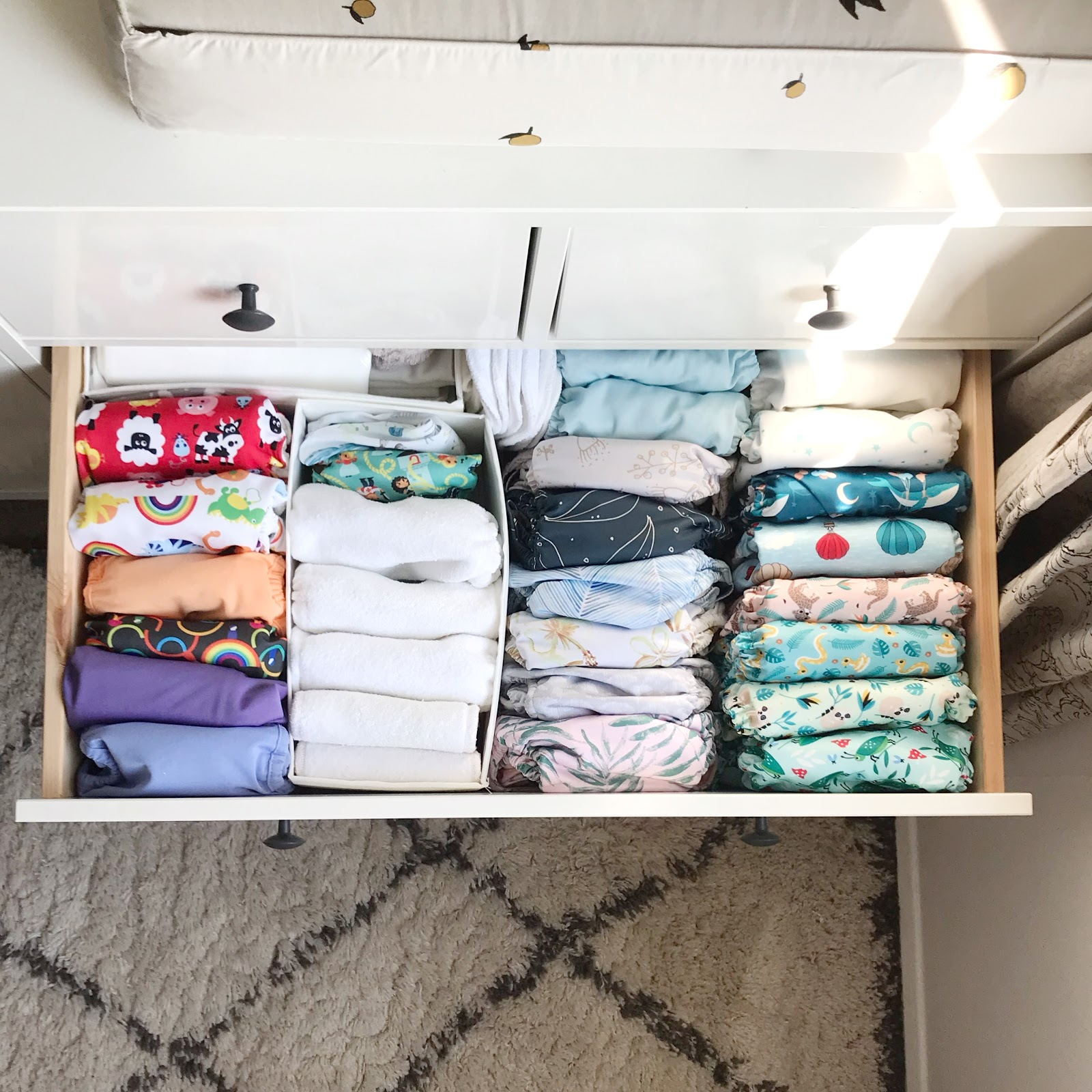 cloth nappy stash in drawer
