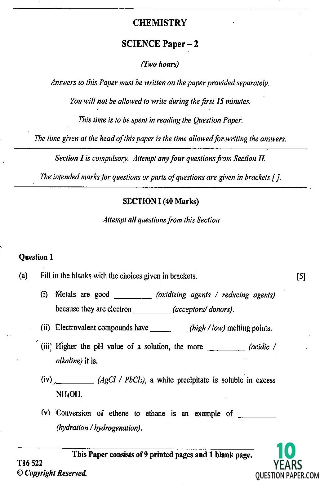 icse chemistry science paper class x years icse 2016 class 10th science chemistry paper 2 question paper