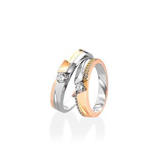 Nhẫn đôi kim cương tự nhiên tinh tế