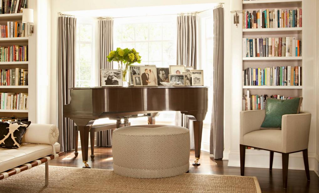 Greensboro interior design window treatments greensboro for Baby grand piano in living room