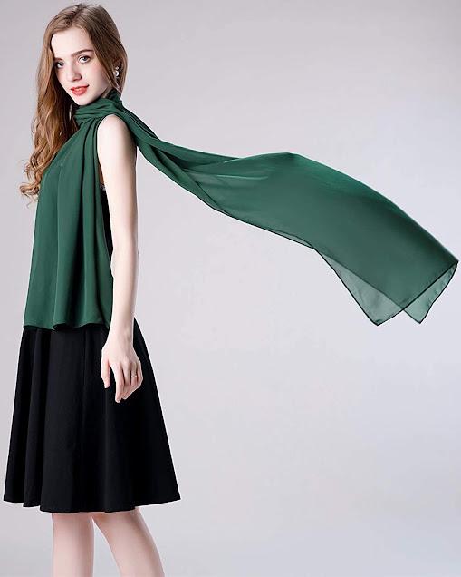 Beautiful Green Chiffon Scarves