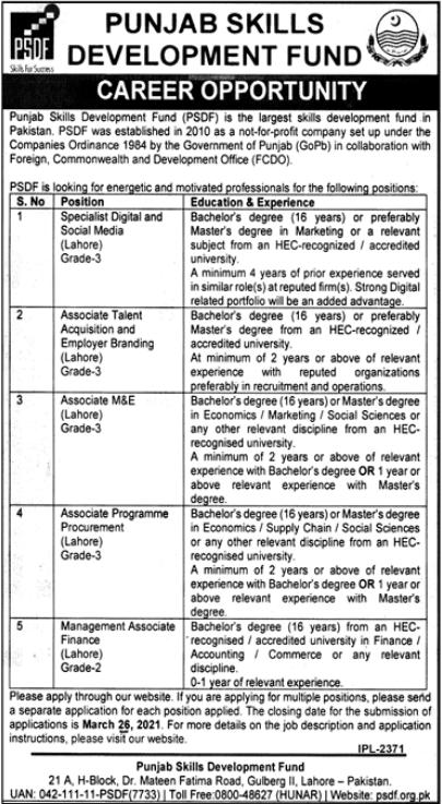 Punjab Skills Development Fund Jobs 2021 in Lahore