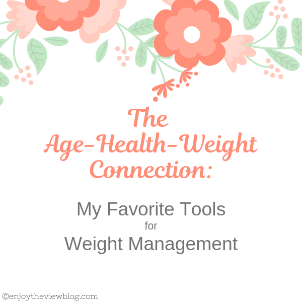 "Infographic that says ""Age-Health-Weight Connection: My Favorite Tools for Weight Management"""