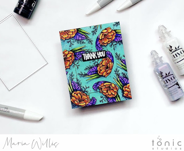 #cardbomb, #mariawillis, #cards, #stamp, #ink, #paper, #handmade, #handmadecards, #diy, #tonicstudios, #tonicstudiosusa, #color, #nuvo, #nuvoshimmerpowder, #video, #videotutorial,