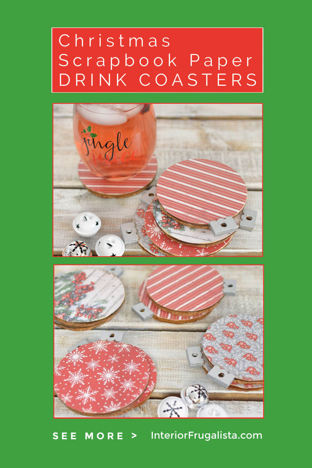 These unique DIY Christmas Scrapbook Paper Drink Coasters in fun ornament shapes are such an easy decoupage idea for holiday decor with inexpensive dollar store wood ornaments and festive scrapbook paper. #diychristmascoasters #diychristmasdecor #christmasideas