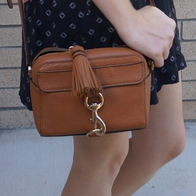 black printed shorts with Rebecca Minkoff MAB Camera Bag in almond | away from the blue