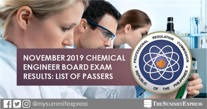 FULL RESULTS: November 2019 Chemical Engineer ChemEng board exam list of passers, top 10