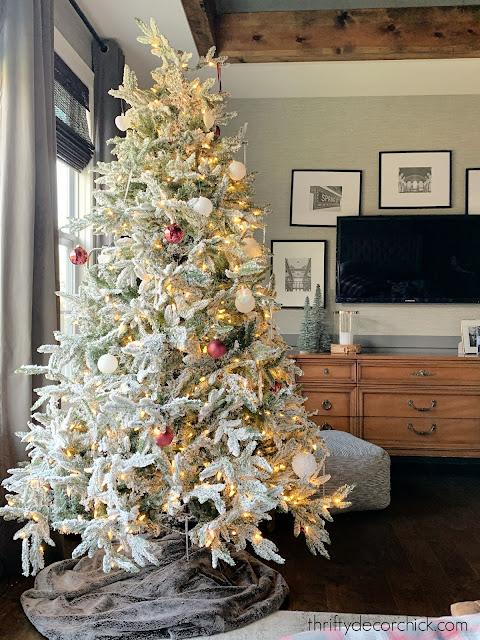 flocked tree in bedroom