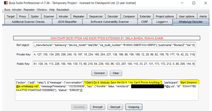 whatsapp hack burp suite extension