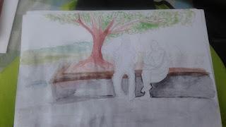Aquarellskizze zeigt zwei sitzende Menschen auf einer Bank im Schatten eines großen Baumes